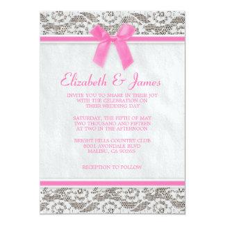 Invitaciones rosadas del boda del cordón del país comunicados personales