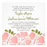 Invitaciones rosadas del boda del hibisco invitaciones personalizada