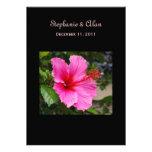 Invitaciones rosadas del boda del hibisco comunicados personalizados