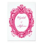 Invitaciones rosadas del boda del marco del comunicado