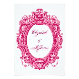 """Invitaciones rosadas del boda del marco del invitación 5"""" x 7"""""""