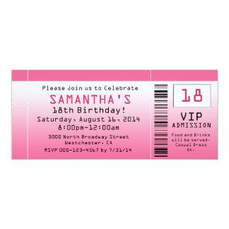 Invitaciones rosadas del boleto de la burbuja comunicados personalizados