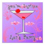 Invitaciones rosadas del cóctel de Martini Invitación 13,3 Cm X 13,3cm