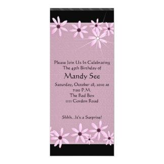 Invitaciones rosadas del cumpleaños de la invitación 10,1 x 23,5 cm
