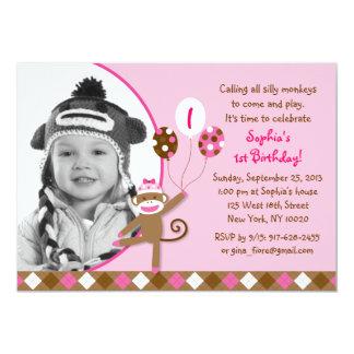 """Invitaciones rosadas del cumpleaños de la foto del invitación 5"""" x 7"""""""