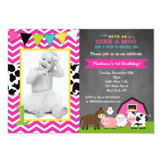 """Invitaciones rosadas del cumpleaños de la granja invitación 5"""" x 7"""""""