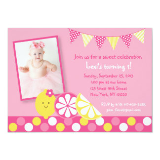 Invitaciones rosadas del cumpleaños de la limonada invitación personalizada