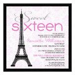 Invitaciones rosadas del dulce 16 de París Invitación Personalizada