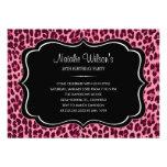 Invitaciones rosadas del estampado leopardo anuncio personalizado
