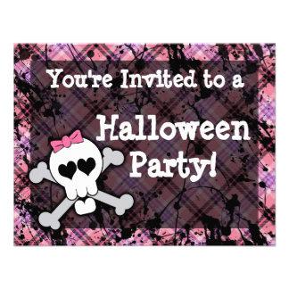 Invitaciones rosadas del fiesta de Halloween del c Invitacion Personal