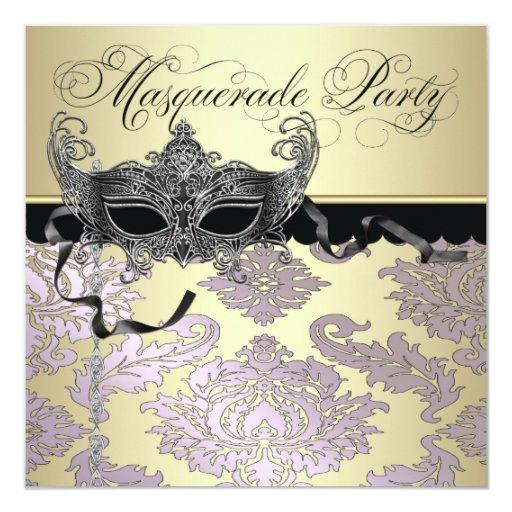 Invitaciones rosadas del fiesta de la mascarada invitación 13,3 cm x 13,3cm