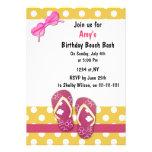 Invitaciones rosadas del fiesta de la playa