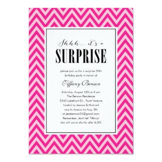 Invitaciones rosadas del fiesta de sorpresa para invitación 12,7 x 17,8 cm