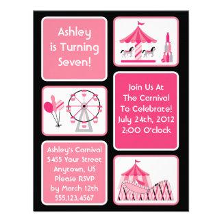 Invitaciones rosadas del fiesta del carnaval de lo invitacion personalizada