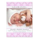 Invitaciones rosadas del nacimiento de la niña del invitación 13,9 x 19,0 cm