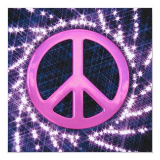 """Invitaciones rosadas del signo de la paz del invitación 5.25"""" x 5.25"""""""
