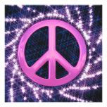 Invitaciones rosadas del signo de la paz del Spark Comunicados Personalizados