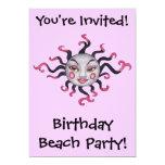 Invitaciones rosadas negras góticas de la diosa de comunicados