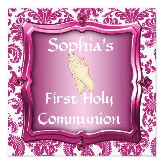 """INVITACIONES ROSADAS oscuras de la comunión santa Invitación 5.25"""" X 5.25"""""""