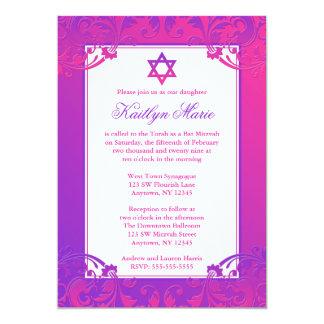 """Invitaciones rosadas púrpuras de Mitzvah del palo Invitación 5"""" X 7"""""""