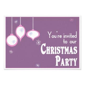 Invitaciones rosadas retras del navidad invitaciones personalizada