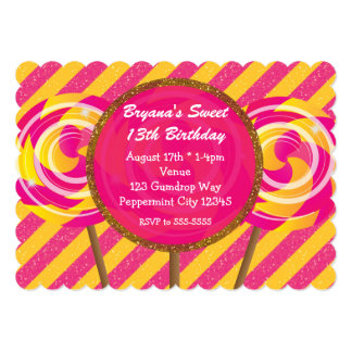 """Invitaciones rosadas y amarillas de Candyland del Invitación 5"""" X 7"""""""