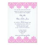 Invitaciones rosadas y anaranjadas de moda del invitación personalizada