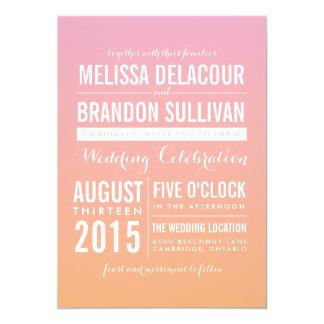Invitaciones rosadas y anaranjadas del boda de la invitación 12,7 x 17,8 cm