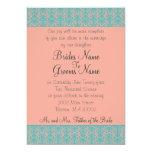 Invitaciones rosadas y azules del boda o del invitación 12,7 x 17,8 cm