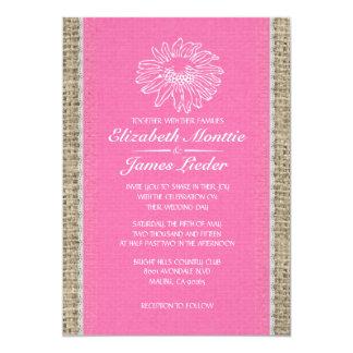 Invitaciones rosadas y blancas del boda del cordón comunicado personalizado