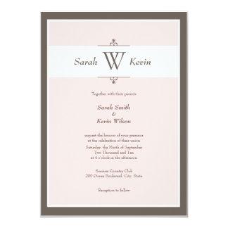 """Invitaciones rosadas y de color topo del boda del invitación 5"""" x 7"""""""