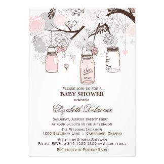Invitaciones rosadas y grises de la fiesta de invitación personalizada