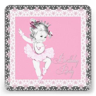 Invitaciones rosadas y grises de la fiesta de cump invitacion personal