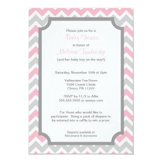 """Invitaciones rosadas y grises de la fiesta de invitación 5"""" x 7"""""""