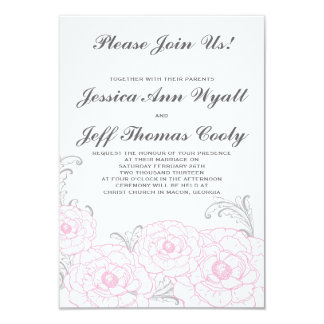Invitaciones rosadas y grises del boda de la flor invitación 8,9 x 12,7 cm