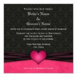 Invitaciones rosadas y negras brillantes del boda comunicado personal