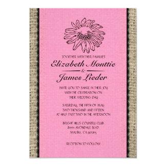Invitaciones rosadas y negras del boda del cordón anuncios personalizados