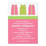 Invitaciones rosadas y verdes del vestido de anuncios