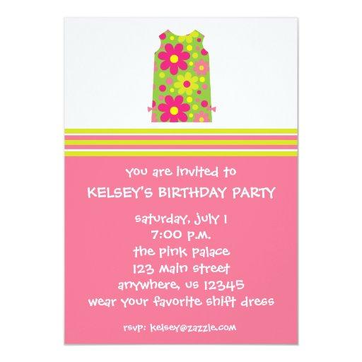 Invitaciones rosadas y verdes del vestido de invitacion personal