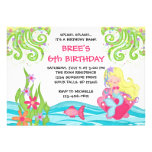 Invitaciones rubias del cumpleaños de la sirena anuncios