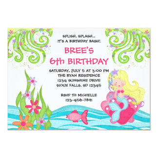 """Invitaciones rubias del cumpleaños de la sirena invitación 5"""" x 7"""""""