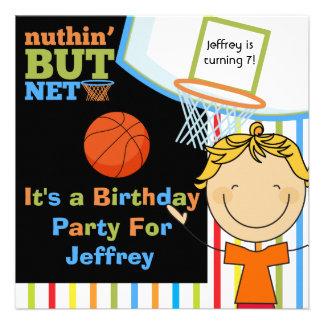 Invitaciones rubias del cumpleaños del baloncesto comunicado