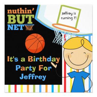 Invitaciones rubias del cumpleaños del baloncesto invitación personalizada