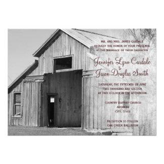 Invitaciones rurales del boda del granero del país