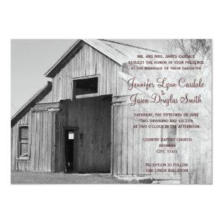 Invitaciones rurales del boda del granero del país invitacion personalizada