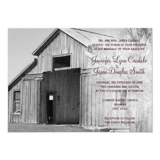 Invitaciones rurales del boda del granero del país invitación 11,4 x 15,8 cm