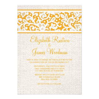 Invitaciones rústicas anaranjadas del boda de la a