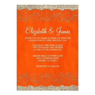 Invitaciones rústicas anaranjadas del boda del cor