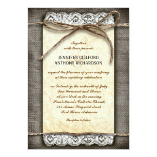 invitaciones rústicas apenadas del boda invitación 12,7 x 17,8 cm