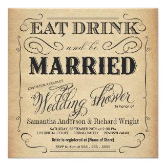 Invitaciones rústicas de la ducha del boda del invitación 13,3 cm x 13,3cm